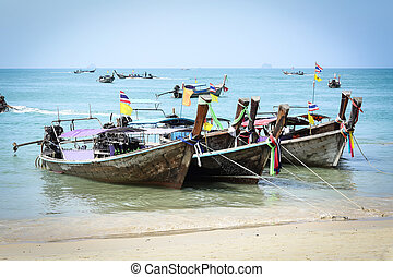 Thai Long tailed boat in Thailand beach