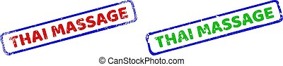 THAI MASSAGE Bicolor Rough Rectangle Stamps with Grunge Surfaces