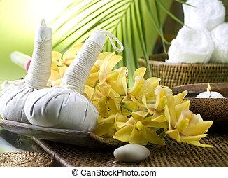 thai, masseren, settings., spa