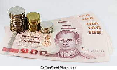 Thai money bank note and coin bath on white background