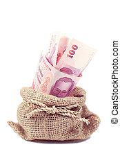 Thai money in the bag on white