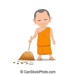 Thai monk holding broom is leaf sweep, design isolated on ...