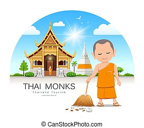 Thai monk holding broom is leaf sweep, Thailand temple and ...