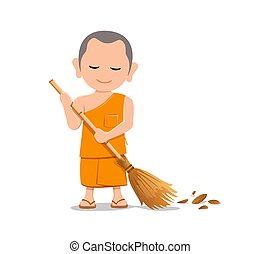 Thai monk is leaf sweep, design isolated on white background...