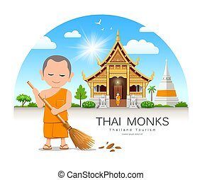 Thai monk is leaf sweep design Thailand temple and pagoda ...