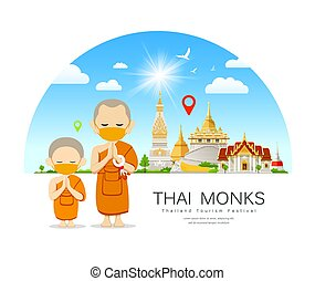 Thai Monks and novice with yellow mas temple background - ...