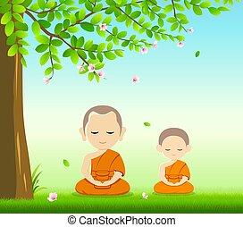 Thai monks and thai novice, Buddhism meditation sit down ...