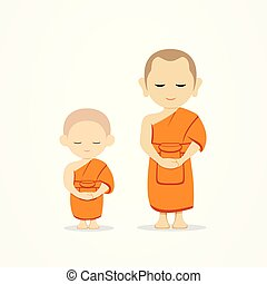 Thai monks and thai novice stand up vector, isolated on ...