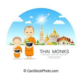 Thai Monks bowl and thai novice, of Buddhism thai temple ...
