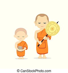 Thai monks talipot fan in hand and thai novice book in hand ...