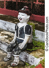Thai Mountaineer children figure , Clay Thai Art