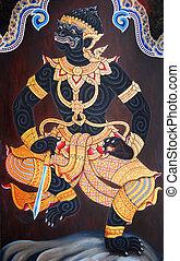 Thai Mural Painting on the wall, Wat Phra Kaew, Bangkok, Thailand (Ramayana story)