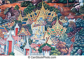 Thai Mural Painting on the wall, Wat Phra Kaew, Bangkok,...