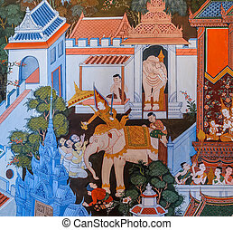 Thai mural painting