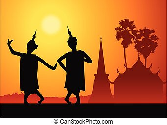 Thai music dancer For important festival and ceremony,silhouette design with scenery background