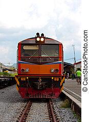 train - thai old train at station