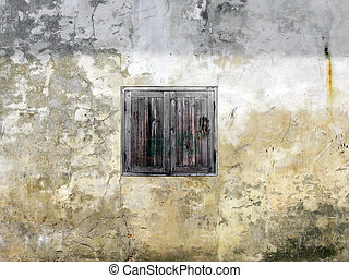 Thai old wooden door with white wall