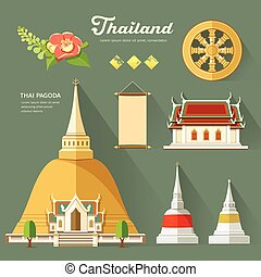 Thai Pagoda with temple, wheel of life, and flower, ...