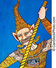 Thai painting on wall of temple