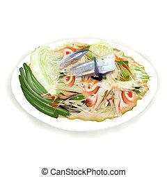 Thai Papaya Salad with freshwater