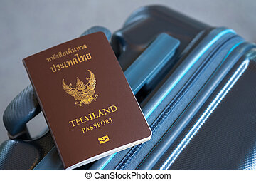 Thai passport on suitcase, Travel concept