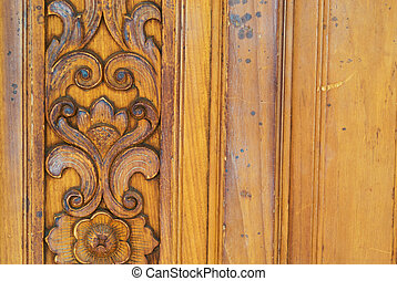 Thai pattern carved wood texture