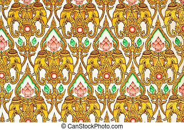 Thai Pattern Design on wall