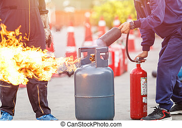 Thai people in the conflagration preventive extinguisher...