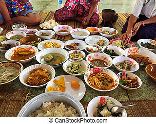 Thai people in the countryside are eating local food at the...