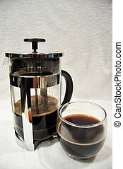 Thai people use drip coffee maker or dripper made hot coffee for drinking