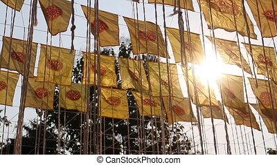 Thai public temple pray merit ceremony flags, stock footage