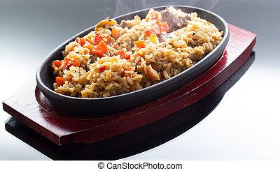 thai rice on black background