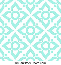 Thai seamless pattern with flowers - tiled design in blue on white background