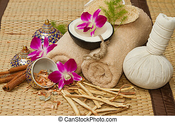 Thai spa massage setting , Massage oil, body scrub,...