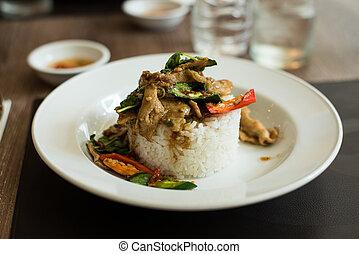 Thai spicy food Krapao Gai