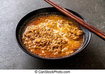 Thai spicy instant noodles bowl