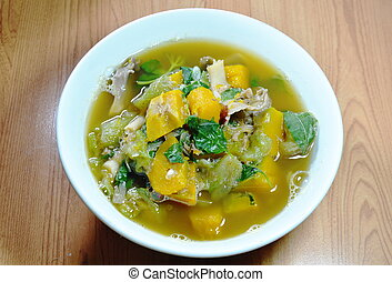 Thai spicy mixed vegetable soup on bowl