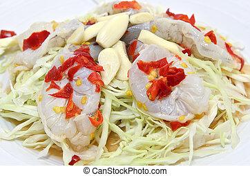 Thai spicy raw shrimp