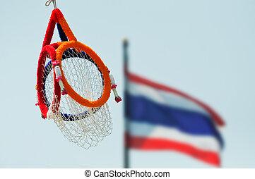 Thai sports known as Takraw through hoops.