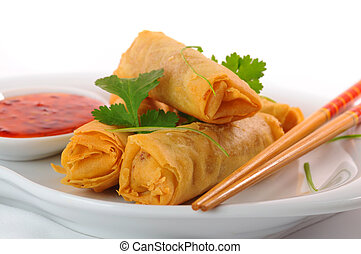 Thai Spring Rolls - Delicious thai spring rolls with spicy...