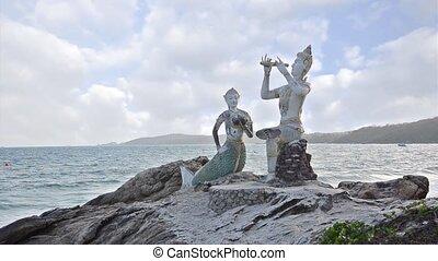 thai statues - Thailand, Ko Samet, Saikaew Beach, Flute...