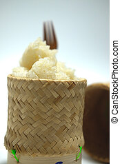 Thai sticky rice in bamboo basket box.