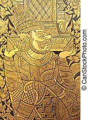 thai, stijl, schilderij, art.