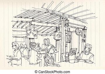 Thai street food restuarant atmosphere illustration doodle...