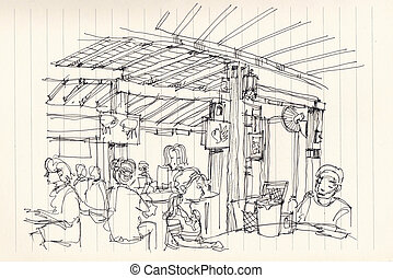 Thai street food restuarant atmosphere illustration doodle...