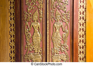 thai style door & Door frame thai art style isolated on white background picture ...
