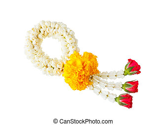 Thai style flower garland isolated