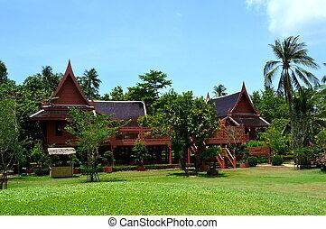 Thai style house at King Rama II memorial park, Amphawa, ...