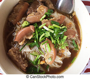Thai style meat noodle soup, delicious of thaifood