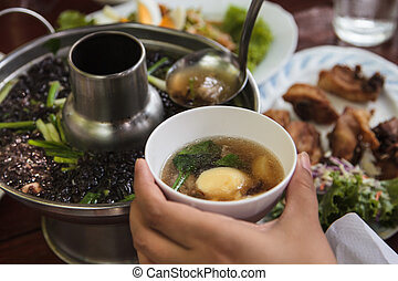 Seaweed soup with minced pork